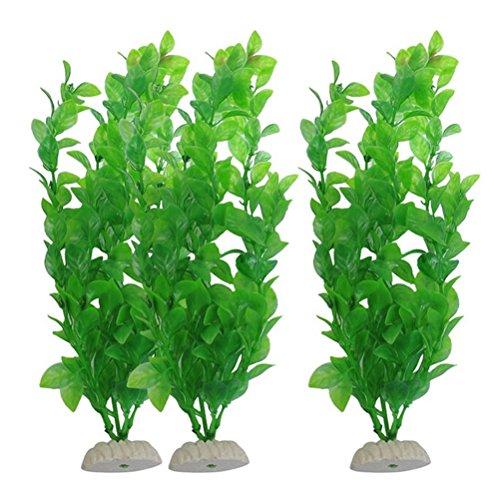 UEETEK Fischtank Grün Plastik Künstliche Pflanzen Aquarium Wasser Pflanzen Dekorationen - PAXK OF 3