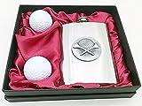 8OZ Golfer Flachmann + 2Ball in ein Geschenk macht Fall. UK Verkäufer. Tolles Geschenk für Golfer
