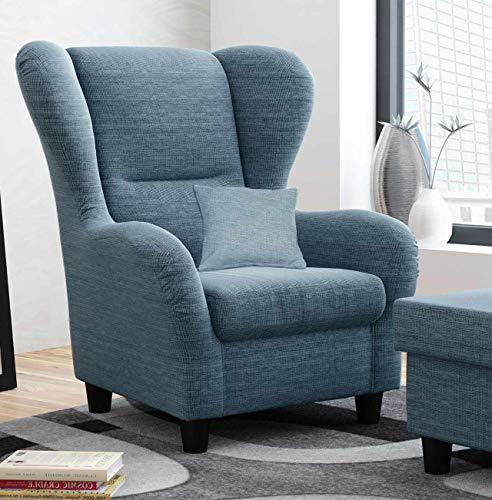 lifestyle4living Ohrensessel in blau im Landhausstil | Der perfekte Sessel für entspannte, Lange Fernseh- und Leseabende. Abschalten und genießen!