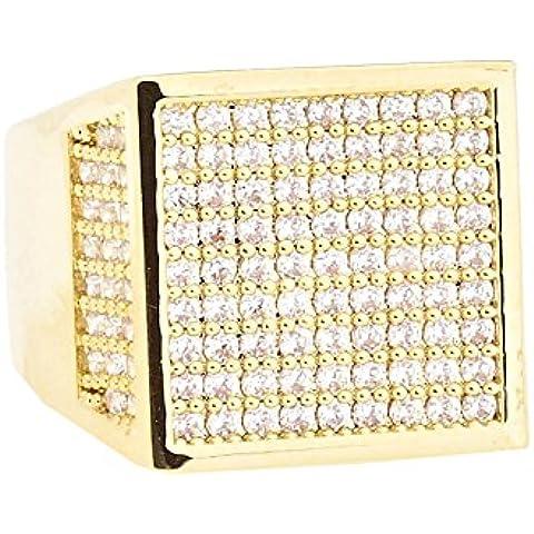 Heló hacia fuera Bling Hip Hop diseñador anillo - Cube 15 mm oro