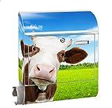 KlebeSpatz® Motiv Briefkasten Maxi mit Zeitungsfach Zeitungsrolle für A4 Post slk shop Groß Kuh 1