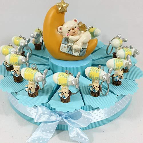 Sindy Bomboniere 8054382130 Torta Bomboniera Nascita Battesimo Bimbo, Resina, Celeste, 3 x 4.5 x 4 cm