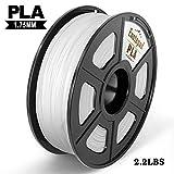 PLA 3D Drucker Filament,±0,02 mm Toleranz,1kg/Spule,1,75mm PLA,Umweltfreundliches Filament Geeignet für 3D-Drucker/3D-Druckstift,Weiß