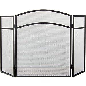 Home Discount Casa de Descuento® Stanton Panel 4Pantalla Protectora para Chimenea, latón y Negro Chimenea