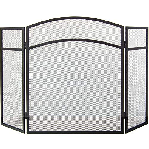 Home Discount Casa de Descuento® Milton Fire Pantalla Protectora para Chimenea en Forma de Arco, Color Negro
