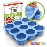 KIDDO FEEDO - Die original Gefrierform mit Silikondeckel zum Einfrieren von Muttermilch in handlichen Portionen - 9 x 75ml - BPA-frei - Gratis eBook mit Rezepten - Lebenslange Garantie - Blau