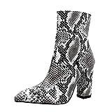 Fuibo Damen Stiefel, Frauen Schlangenleder Leopard Toe Zip dicke spitze Stiefel Schuhe Hohe Schuhe Stiefel |Winterstiefel Stiefel Ankle Boots Schuhe Schlupfstiefel (39 EU, Weiß)