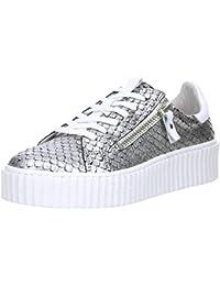 Topway Damen Sneaker Plateau Reptil Schlangenoptik Silber/Schwarz, Größe:41, Farbe:Silber