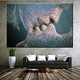 QJXX Arte Inspirador Adán Y Eva Cuadros En Lienzo Wall Art Abstract Picture Artwork para La Decoración del...