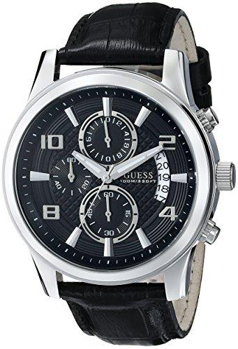 GUESS Men's 44mm Black Calfskin Band Steel Case Quartz Chronograph Watch U0076G1