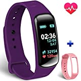 Fitness Tracker-, Forca Farbe Bildschirm Activity Tracker mit Herzfrequenz Monitor mit Schrittzähler und Schlaf Monitor, IP67Fitness Kalorien Smart Armband für Android und IOS für Kinder Damen Herren Lila & Pink Band