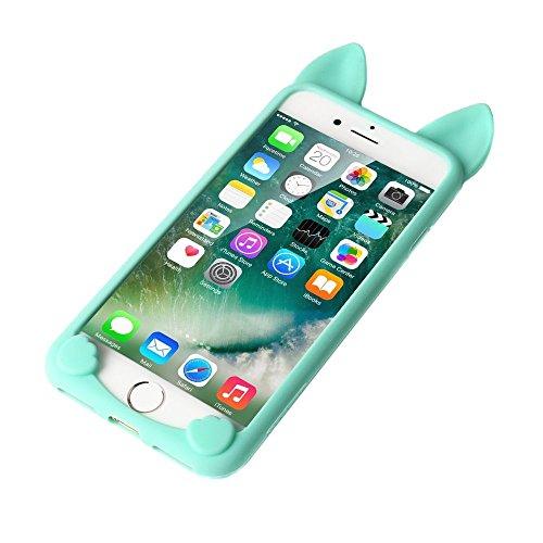 iPhone 5 Schutzhülle, elecfan® Leichtgewicht 3D Cartoon Nette Katze weichen Gel Hülle Tasche Wasserdicht Case Cover Schock Proof Schutzhülle für Apple iPhone 5s iPhone 5 Azurblau