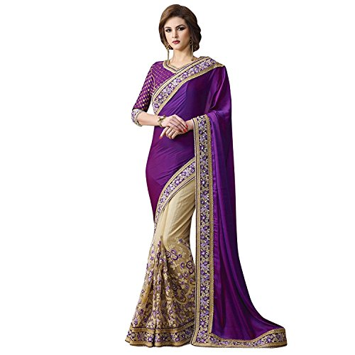 Kjp Villa Women\'s Papersilk And Georgette Purple Free Size embroidery Saree With Blouse Pics (zeel saree-286)