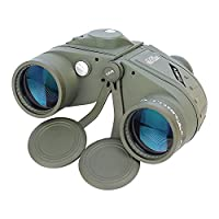 Aomekie 10x50 Binoculars Marine Military Telescope for Adults and Internal Rangefinder Compass Waterproof Army Green for Navigation, Boating, Fishing, Water Sports, Hunting (Green)