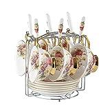 Bone China Keramik Porzellan Landhausstil Kaffeetasse Tee Tasse und Untertasse Gesetzt Teetasse 6er Set, Blume