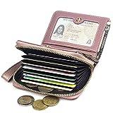 DOSHARE Femme Portefeuille en cuir véritable Bourse Zipper Carte de crédit Permis de conduire Titulaire Embrayage Sac à main de voyage Entreprise Étui à cartes Cadeau de fille Dame Rose