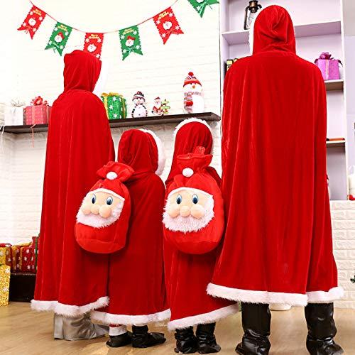 MTOML Mantello di Natale con Cappuccio da Donna in Velluto Rosso Costume Cosplay per Masquerade Carnevale