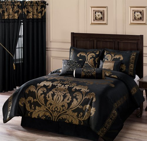 chezmoi Collection 7-teilig Jacquard Floral Tröster Set bed-in-a-bag, California King, schwarz/gold