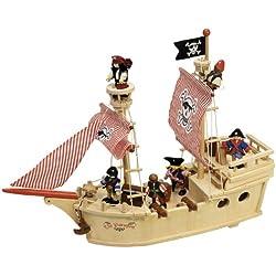 Barco pirata de madera.
