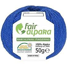 300g (6x 50g) fairalpaka dk Baby alpaca–Ovillo de lana, 100% Lana de Alpaca, alpaca, HF234 Royalblau heather, 200 m
