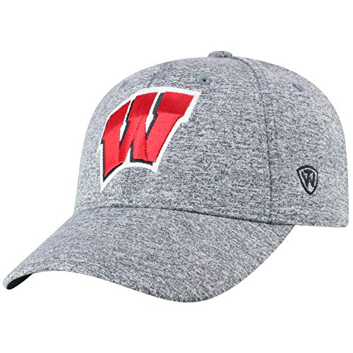 Top of the World NCAA Wisconsin Badgers Men's Adjustable Steam Charcoal Icon Hat, Grey