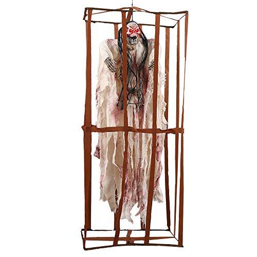 Comficent Esqueleto Preso de Halloween de Valla prisión Adornos Prisioneros Colgante Fantasmas Horror Props 90CM Decoracion para Fiesta (Blanco)