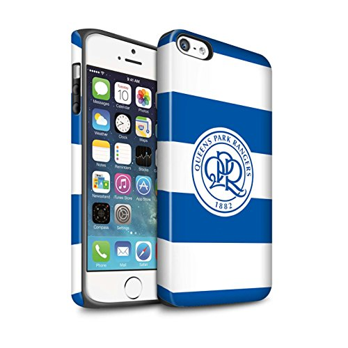 Officiel Queens Park Rangers FC Coque / Matte Robuste Antichoc Etui pour Apple iPhone 8 / Rose Tendre Design / QPR Crête Club Football Collection Hoops/Bleu Royal