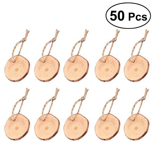 ROSENICE Madera rebanadas 3-4CM de madera troncos de troncos discos con 10 m de cuerda de yute para artesanía de bricolaje 50 piezas