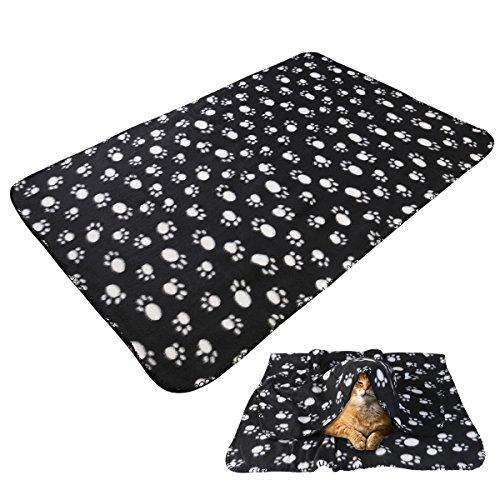 UEETEK Stalldecke Tier Vertraute, sanft Warm Kunstdruck Pfote Fleece Throw Blanket Teppich Liegefläche Bett für Hund Katze Tiere, 100* 70cm (schwarz)