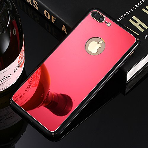 Custodia iPhone 7 Plus Specchio, iPhone 7 Plus Cover Glitter, SainCat Custodia in Hard PC Protettiva Cover per iPhone 7 Plus, Bling Glitter Mirror Specchio 3D Design Plastica Hard Case Ultra Slim Sott Rosso