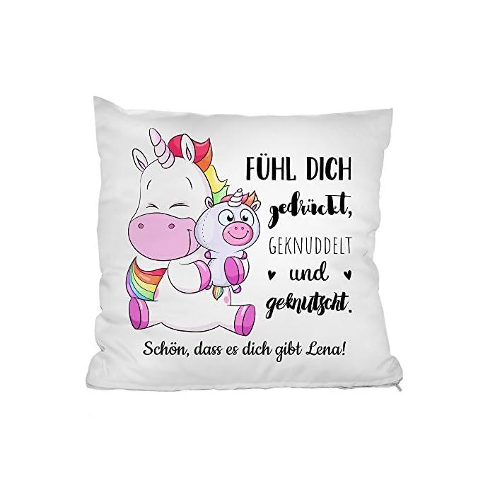 Personello® personalisiertes Einhorn Kissen (mit Name und Spruch gestalten), Einhorn Geschenk für die Beste Freundin…