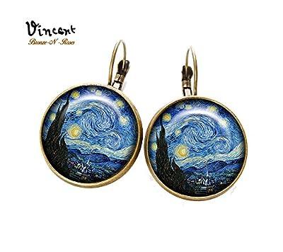 Boucles d'oreilles * La nuit étoilée * Vincent van Gogh cabochon verre dormeuses
