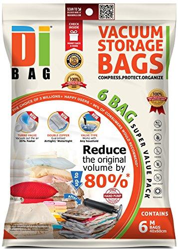 Bolsas de almacenaje al vacío de ropa para ahorrar espacio. 6 bolsas prémium ahorradoras de espacio para viaje. Tamaño de la bolsa: 60x40 cm. Bolsas de plástico con sellado doble para la compresión, el embalaje y el almacenamiento de ropa, ropa de cama, almohadas, mantas, cortinas y edredones - bomba de viaje gratuita incluida - DIBAG.