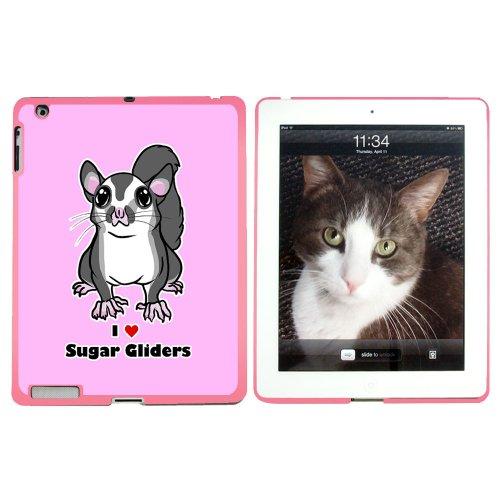 I love Sugar Glider, Nager, Cute Pink Snap-On Hartschalen-Schutzhülle für Apple iPad 2/3/4, Rosa (Ipad Glider)