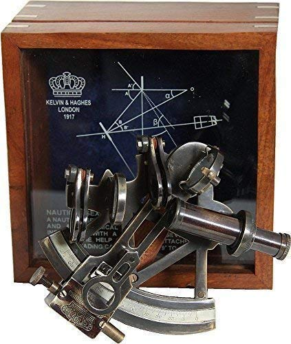Edler Britischer Spiegel Sextant in Holzbox, Kalvin & Haghes London 1917