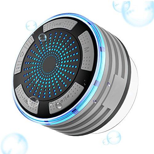 Bluetooth Tragbare Lautsprecher, Goodsmiley bewegliche wasserdichte drahtlose Dusche Lautsprecher mit Saugnapf und Licht (Grau) (Bluetooth-lautsprecher Licht)