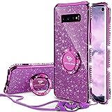 OCYCLONE Galaxy S10 Hülle, Glitzer Diamant Handyhülle mit Trageband & Handy Ring Ständer Schutzhülle für Galaxy S10 Handy Hülle für Mädchen Frauen, [6.1 Zoll] Lila