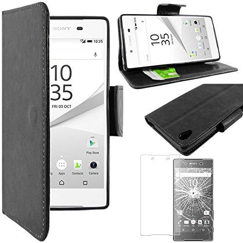 ebestStar - Etui Sony Xperia Z5, Z5 Dual - Housse Coque Etui Portefeuille Support PU Cuir + Film protection écran en VERRE Trempé, Couleur Noir [Dimensions PRECISES de votre appareil : 146 x 72 x 7.3 mm, écran 5.2''] [Note Importante Lire Description]