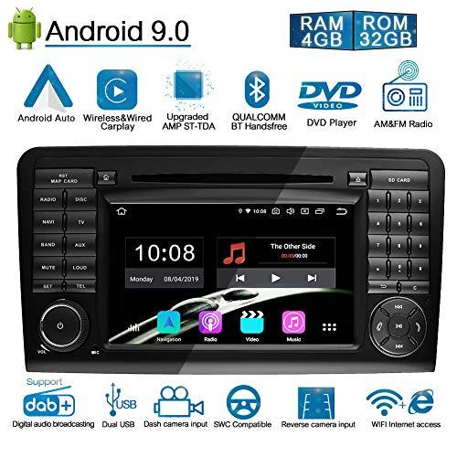 Ohok 7 Zoll Bildschirm 2 Din Autoradio Android 9.0 Pie Octa Core Radio mit Navi Moniceiver DVD GPS Navigation Unterstützt Bluetooth DAB+ für Mercedes-Benz ML-W164/W300/ML/GL