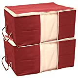 #4: Kuber Industries 2 Piece Non Woven Underbed Storage Bag Set, Extra Large, Maroon