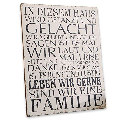 Loberon Dekoboard Familie, MDF, H/B ca. 50/40 cm, antikweiß