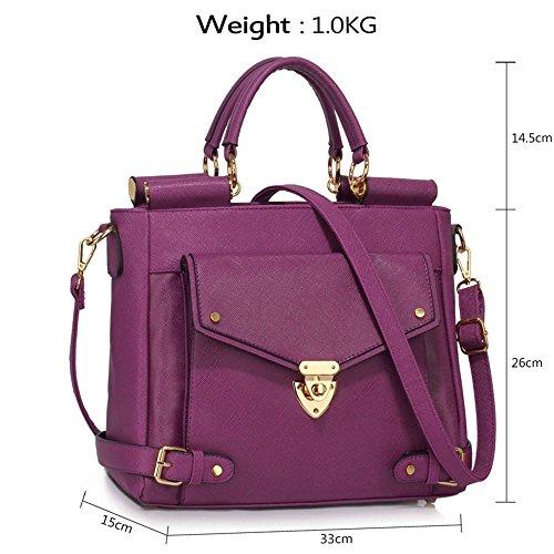 LeahWard® Große Größe oben Griff Kunstleder nett Groß Handtaschen Satchels Taschen 237 A-Lila