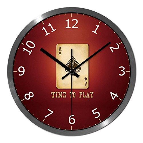 SL&HEY Il soggiorno orologio da parete poker rosso di un nucleo di styling in mogano scuro elegante ultra-quiet mount orologi ,12 , in nero-pin casella color argento