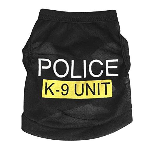 Pet Weste Polizei schwarz gedruckt Haustier Kleidung Hund Katze Weste T-shirt Sommer Bekleidung - Polizei Hunde Haustier Kostüm