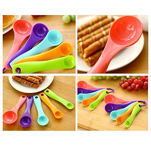 Baking Measuring Spoon Candy Color Kitchen Cooking Serving Dinnerware Dipper Home Cake Tools 5pcs - ®Golden Deals