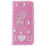 Miagon per Huawei P30 Lite Custodie Brillantini,Diamante Glitter Flip Cover PU Pelle Libro Portafoglio Kickstand Magnetica,Angelo Rosa