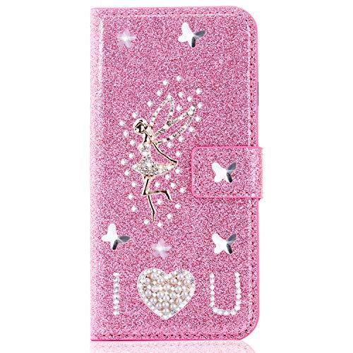 Miagon für Samsung Galaxy A7 2018 Glitzer Brieftasche Hülle,3D Diamant PU Leder Case Kartenslots Ständer Strass Wallet Flip Cover,Engel Rosa