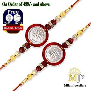 (0132) Milan Jewellers BIS HALLMARKED 99% Fine Silver OM SWASTIK Rakhi (Combo)