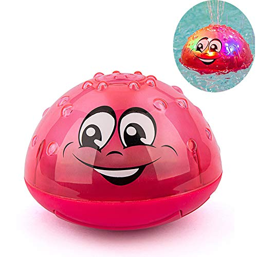 Aokebeey Kinder Schwimmende Badespielzeug Wasserspielzeug mit Licht, Automatische Induktions Sprinkler Babyspiel Wasserbad Spielzeug für Baby Kleinkinder Kinder-Party - Rot