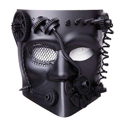 GEEKINVADER Venezianische Steampunk Maske mit Zahnrädern Katzenmaske mit Binokular Halbes Gesicht mit Zahnrädern über 14 Modelle (Kostüme Tutorial Halloween Up Make)